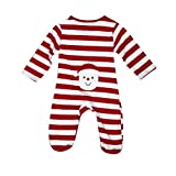 Switchali baby Mädchen Junge Weihnachten Overall Langarm Gestreift Body kletternde Kleidung Set (6M, Rot)