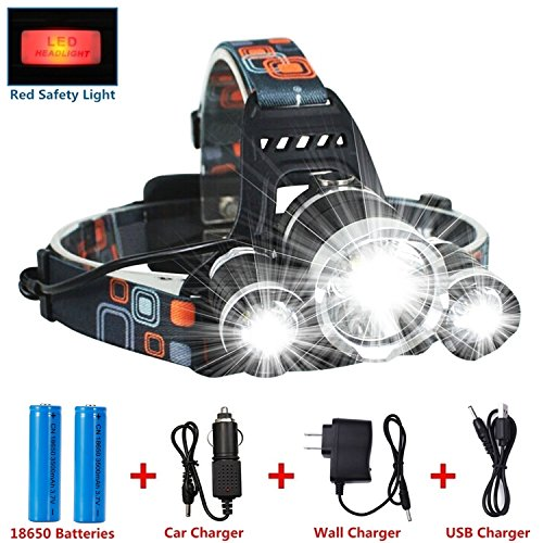 LED Headlamp Flashlight Kit, ANNAN 8000-Lumen Extreme Bright Headlight with Red Safety Light, 4 Modes, Waterproof, Portable Light for Camping, Biking, 2 Rechargeable 18650 Batteries Included - 12 Outside Pockets