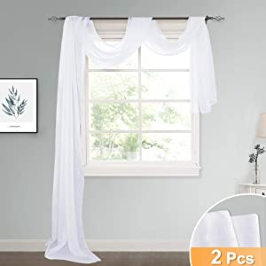 RYB HOME Decor Semi Sheer Valance Window Scarf for Bedroom Canopy Curtains, White Sheer Voile Linen Look Curtain Swags for Wedding/Living Room, Wide 60 inches x Long 216 inches Each, 2 Panels