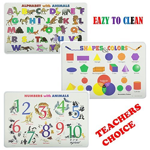 Painless Learning Educational Placemats Sets For Kids Alphabet, Numbers, Shapes, Colors Learning Set Of 3 Non Slip Washable