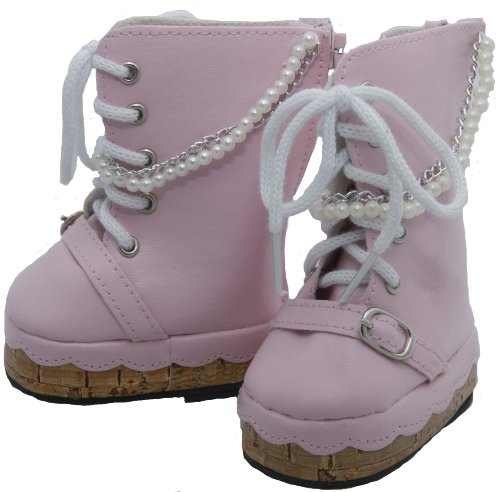 BUYS BY BELLA Pearl and Chains Boots for 18 Inch Dolls Like American Girl