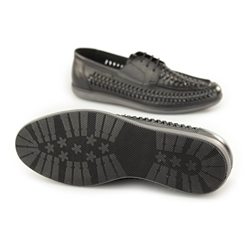 Red Tape Spinney Mens Leather Weave Lace Up Loafers Black Black 0xGTXuIBRZ