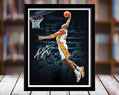 Kobe Bryant Autograph Replica Print - Los Angeles Lakers - Dunk - 8x10 Desktop Framed Print - Portrait
