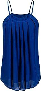 Vests Home Tirantes de Gasa con Correa de Espagueti para Mujer, con Estilo, Tanques Superiores (Color : Royal Blue, Size : Large)