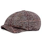 HowYouth Mens Classic Vintage Newsboy 8 Panel Herringbone Tweed Flat Cap Gatsby Baker Boy Hat Unisex 55-58CM (Grey Style2)