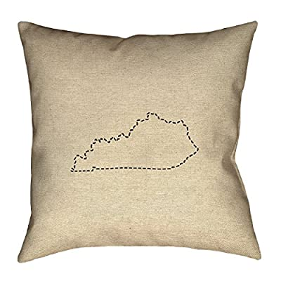 "ArtVerse Katelyn Smith Kentucky Outline 16"" x 16"" Pillow-Cotton Twill Double Sided Print with Concealed Zipper Cover Only"