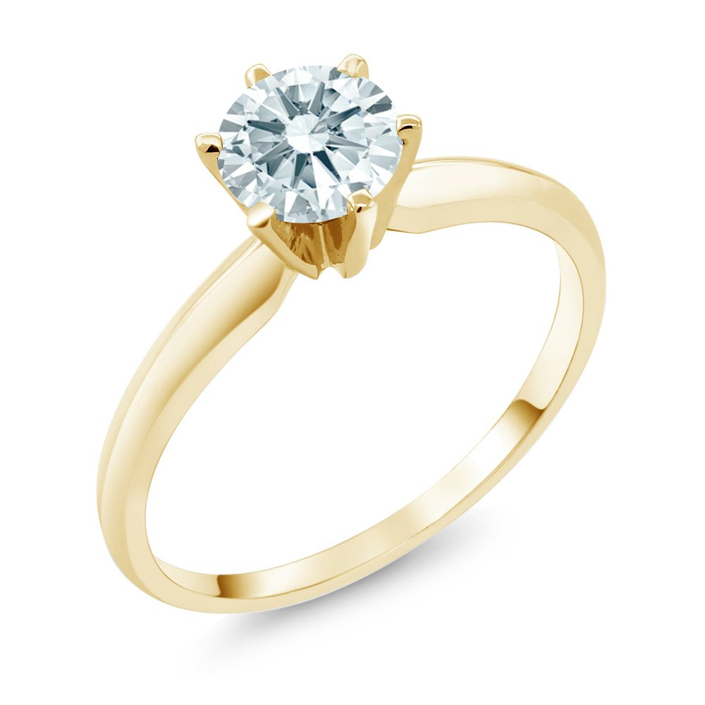 0.84 Ct White 14K Yellow Gold Engagement Solitaire Ring Made With Swarovski Zirconia (Ring Size 7)