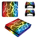 PS4 Slim Skin Sticker,Candy86 Protective Vinyl Decal Skin Sticker for PS4 Slim Console + 2 Controller Skins + 2 x Silicone Thumb Grips (Color 24)