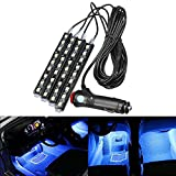 Interior Lights, AMBOTHER 4in 1 9 LED Car Atmosphere Light,Interior Underdash Lighting Kit ,Car Auto Floor Lights,Waterproof Glow Neon Light Strips Decoration Lamp Ice Blue