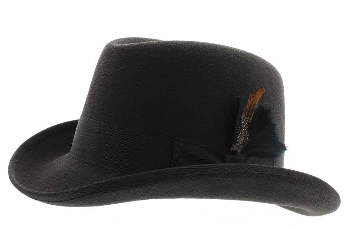 083eb9161 Milani Homburg Fedora Wool Felt Hat W/Grosgrain Band and Feather Detail GF  Style FD-223