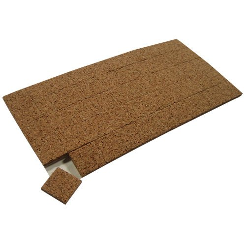Cork with Cling Foam Cushion Pads: 3/16' Thick x 1/2' Square - 32 Sheets (70 Pads Per Sheet) MANU-SOURCE