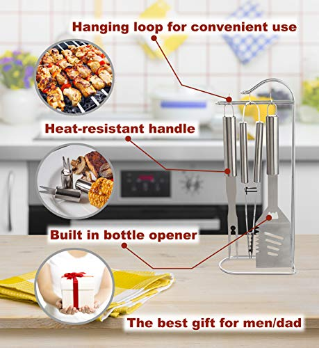 ROMANTICIST 20pc Stainless Steel BBQ Grill Tool Set for Men with Gift Box Package - Complete Outdoor Barbecue Grilling Accessories Kit in Aluminum Storage Case by ROMANTICIST (Image #6)