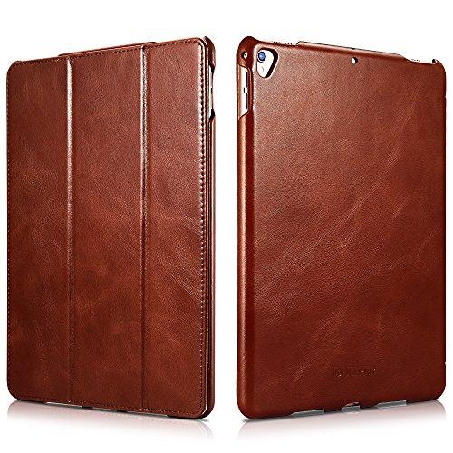 iPad Pro 12.9 Case, Icarercase Genuine Leather Case Folio Flip Smart Cover Auto Wake/Sleep Function [Magnetic Closure] Kickstand for Apple iPad Pro 12.9(2017) Brown