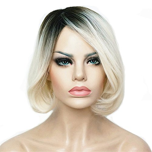 Aimole Ombre Wig Short Bob Wigs Straight White Hair with Dark Roots Synthetic Natural Full Women Wigs 8 Inches (Bride Imported)