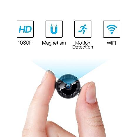 Fredi Mini cámara espía, 1080P HD WiFi cámara escondida cámara espía, pequeñas cámaras de