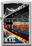 Zippo New York City Manhattan Bridge at Night Satin Chrome Windproof Lighter