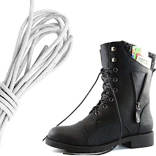 DailyShoes Womens Military Lace Up Buckle Combat Boots Zipper Sweater Ankle High Exclusive Credit Card Pocket, Ivory Black Pu
