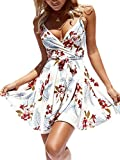 ECOWISH Womens Dresses Summer Floral Print V-Neck Spaghetti Strap Mini Swing Skater Dress with Belt White S