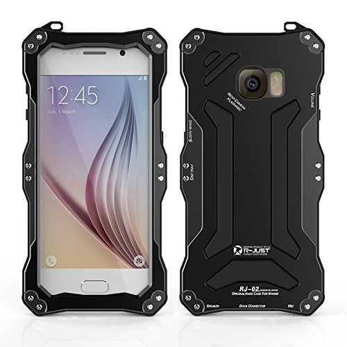 R-just NEW Gundam Series Waterproof Protective Case Snow-resistant Dustproof Shockproof Shell Heavy Duty Metal Cover Tempered Glass for Samsung Galaxy S6 Black