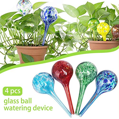 4 Pieces Plant Self Watering Spikes System, Indoor Outdoor Plastic Bottle Garden Plants Drip Irrigation,Automatic Sprinkling Light Green Globe Mini Decorative Hand Blowing Glass Small Plant Bulb