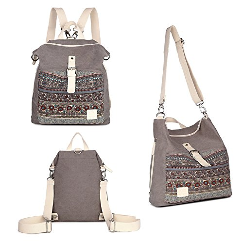 Womens Backpack Purse 3-way Ladies Vintage Shoulder Bag Casual Canvas Travel - Messenger Bag Zip Back