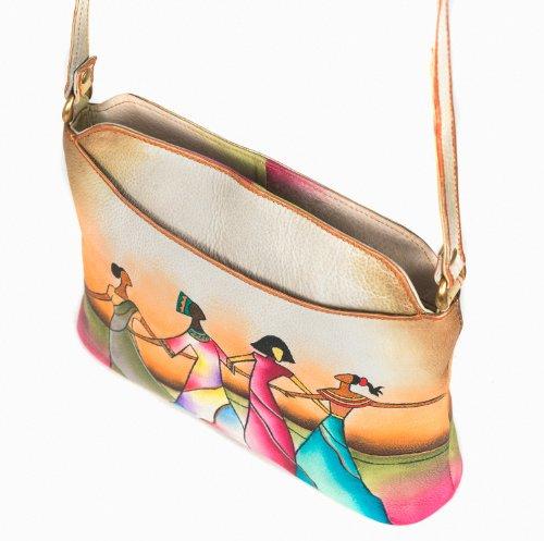 Zimbelmann Damen Umhängetasche / Schultertasche aus echtem Leder - Nappaleder - handbemalt - Afra