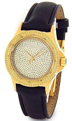 Ladies Swiss Master Genuine Diamond Watch Gold Tone Case Black Leather Band w/ 2 Extra Watch Bands - Ladies Diamond Bezel Leather Band