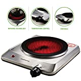 "Ovente Countertop Infrared Burner – 1000 Watts – 7.5"" Ceramic Glass Single Plate Cooktop with Temperature Control, Non-Slip Feet – Indoor/Outdoor Portable Electric Stove – Stainless Steel (BGI201S)"