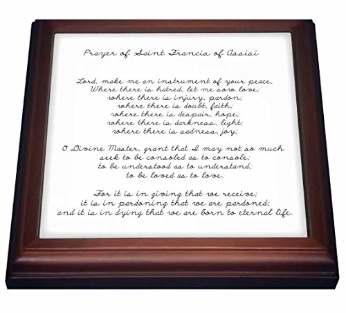 3dRose trv_110280_1 Prayer of St. Francis of Assisi Spirituality Religion Trivet with Ceramic Tile, 8 by 8
