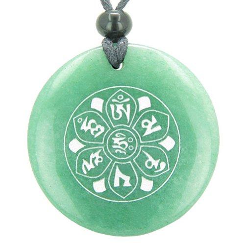 Om Mani Padme Hum Mantra Amulet Green Quartz Magic Circle Pendant Necklace