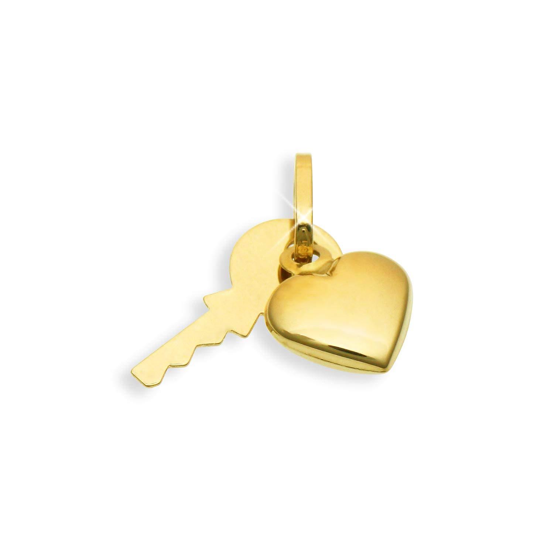 Schlü ssel & Herz Charms Bettelarmband Anhä nger 14 Karat Gold 585 (Art.211003) Viennagold