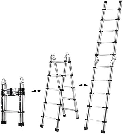 XSJZ Escalera Plegable Multifuncional, Portátil Pequeño con Polea Escalera de Espiga Plegable Escalera Telescópica Interior Aleación de Aluminio Grueso Escaleras de Elevación Escalera Plegable: Amazon.es: Hogar