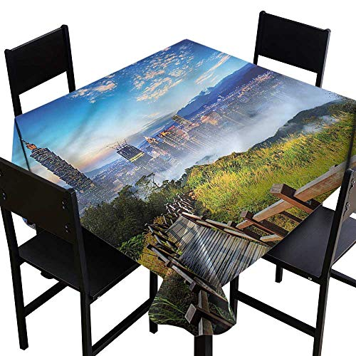 Cosmopolitan Green Sage (OUTDRART Rectangle tablecloths Scenery,City Cosmopolitan Life,W54 x L54 Square Polyester Tablecloth)