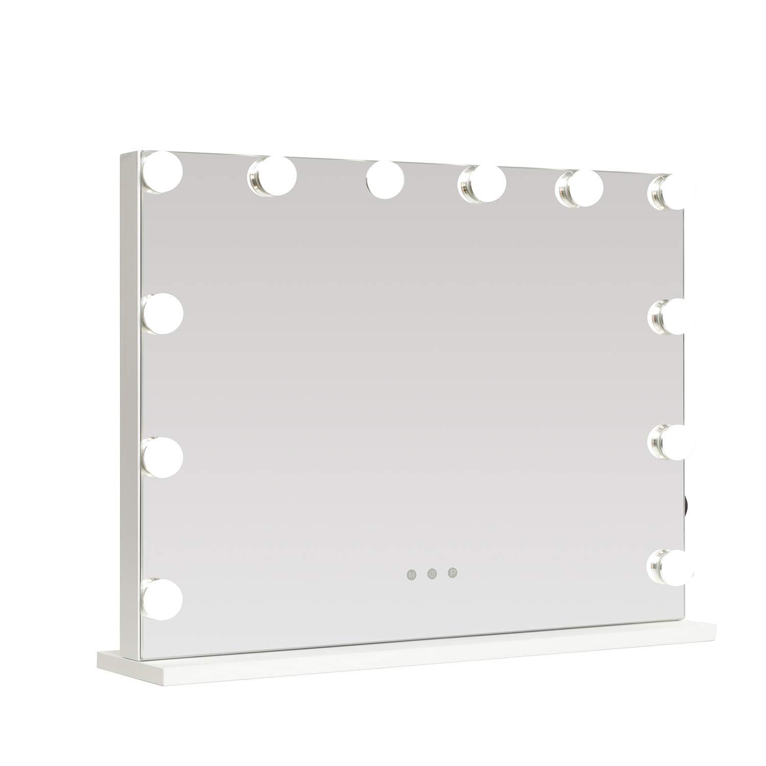WAYKING Lighted Makeup Mirror with Lights, 1st Generation Hollywood Vanity Mirror with 12 Built-in LED Bulbs, USB Charging Ports L22.83 x H18.11 White
