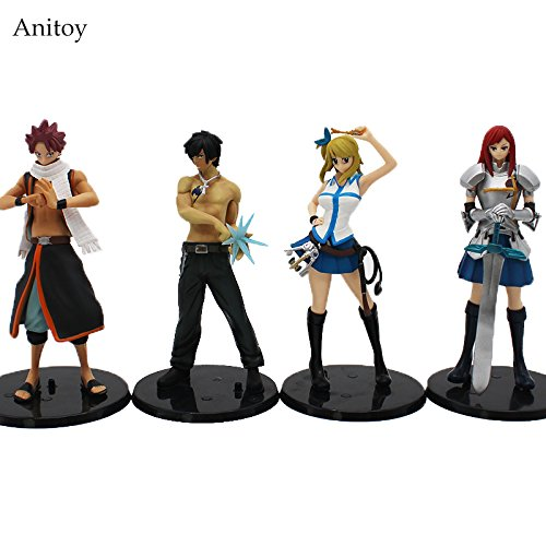 Anime Fairy Tail Lucy Heartfilia Erza Scarlett Grey Fullbuster Natsu Dragnir PVC Figure Collectible Model Toys 15cm