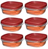 Rubbermaid 1776401 1 1/4-Cup Easy Find Lid Food Storage Container, Square, 6 pack