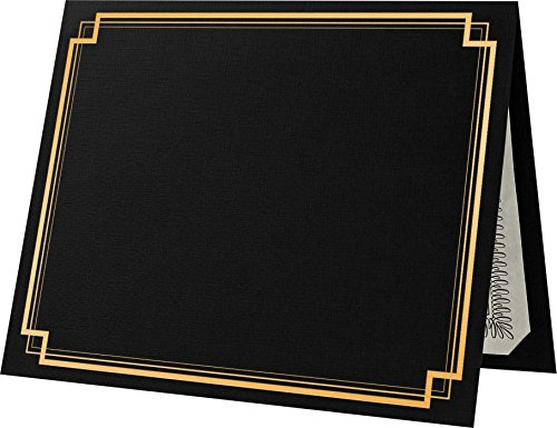 - 9 1/2 x 12 Certificate Holders - Deep Black Linen - Gold Foil Square Border (25 Qty.) | Perfect for Award Recognition, Certificates, Documents and More! | CHEL-185-DDBLK100-SQGF-25