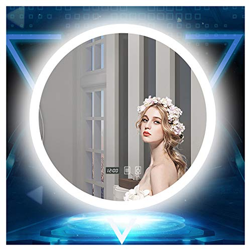 Smart Touch Anti-Fog Makeup Mirror, LED Light-Emitting Round Frameless Bathroom Mirror with -