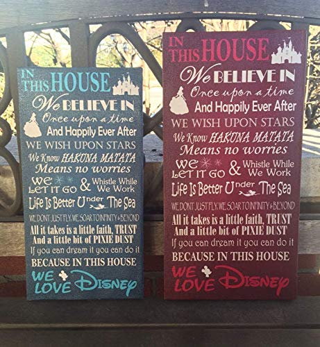 Disney Wall Plaque - Disney Themed Canvas, Disney Inspired House Rules for Disney Family, Wall Decor, In This House, Made to Order, Custom CANVAS Decor, PERSONALIZE Family NAME, We Do Disney, Distressed Solid Background