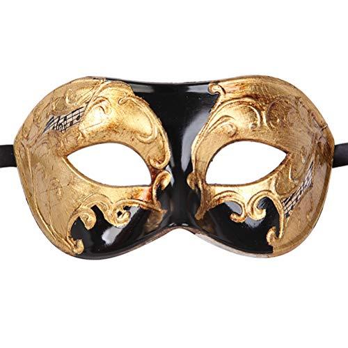 (Xvevina Venetian Masquerade Mask for Men Party (Black/Gold)