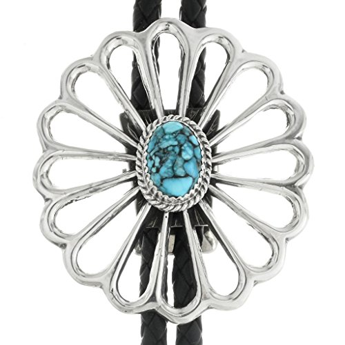 Spiderweb Turquoise Old Pawn Style Bolo Tie Medium Sterling Sandcast Design 0012 ()