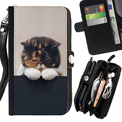 STPlus Gato en una caja Animal Monedero Con Correa y Cremallera Carcasa Funda para Sony Xperia E5 #2