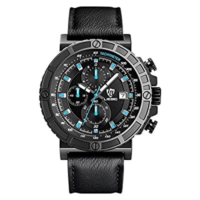 Men's Watch LIEBIG Chronograph Watch with a Black Dial and a Black Leather Strap Commander series ZHG161015