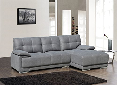 Container Direct Modern Fabric Embossed Chaise Lounge Sectional Sofa with Right-Facing Chaise, Gray