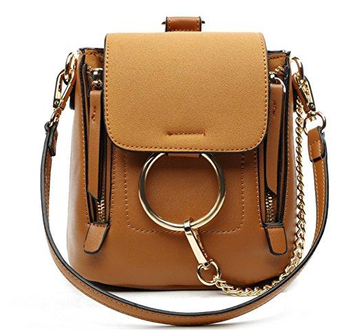 BAO Bolsos de las mujeres Diagonal Shoulder Portable Trend Bolsa de la personalidad Moda Anillo Scrub Mochila Multifuncional Bolsa simple, brown brown