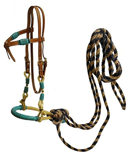 Rawhide Futurity - Showman Leather Futurity Knot Headstall with Teal Rawhide Braided Bosal and Horse Hair Mecate Reins