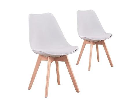 Sedie Bianche E Legno : Usinestreet set di sedie scandinavi andrea con cuscino e piedi