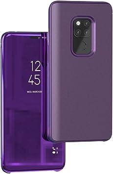 Funda® Espejo Enchapado Flip Huawei Mate 20 Pro (Púrpura): Amazon ...