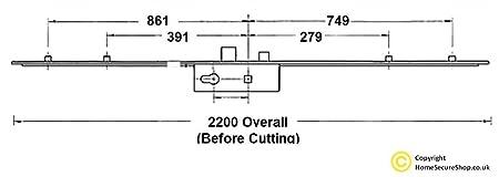 GU - Cerradura multipunto con barra de bloqueo, 4 rodillos, cierre y cerrojo, pieza central de 35 mm: Amazon.es: Bricolaje y herramientas