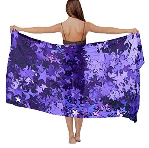 Women purple_foil_stars Chiffon Pareo Beach Wrap Scarf for Vacation